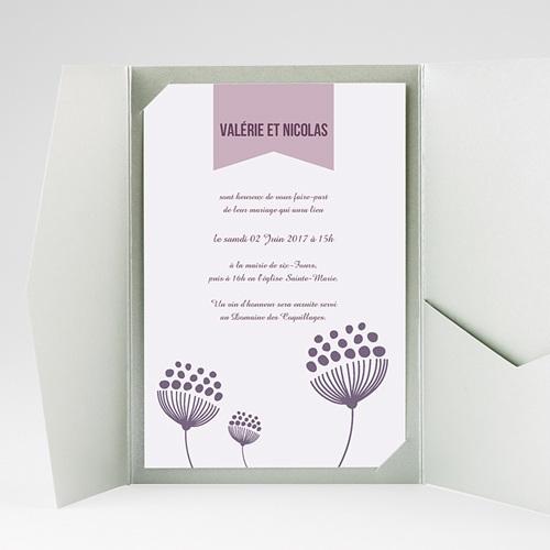 Faire Part Mariage Pochette rectangulaire - Violettes 38935 thumb