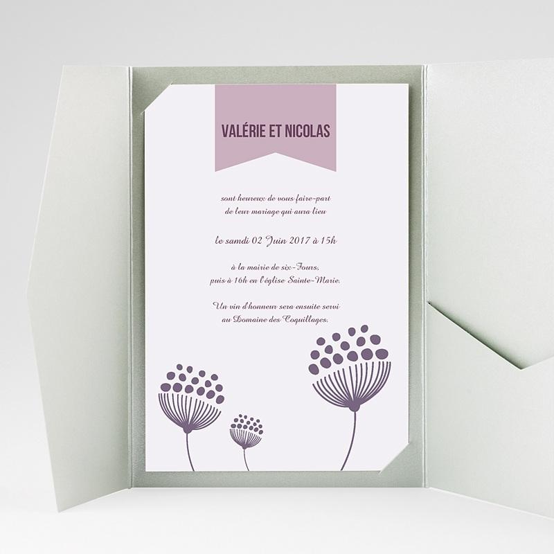 Faire Part Mariage rectangulaire Violettes gratuit