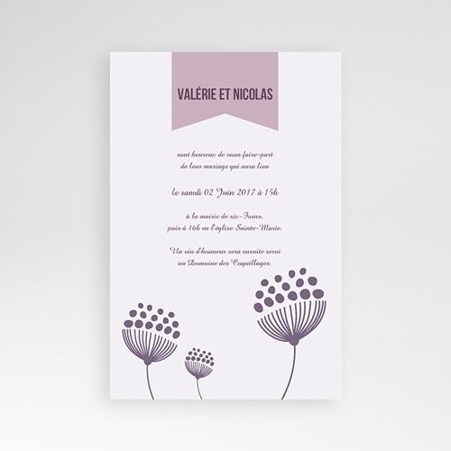 Faire Part Mariage Pochette rectangulaire - Violettes 38936 thumb