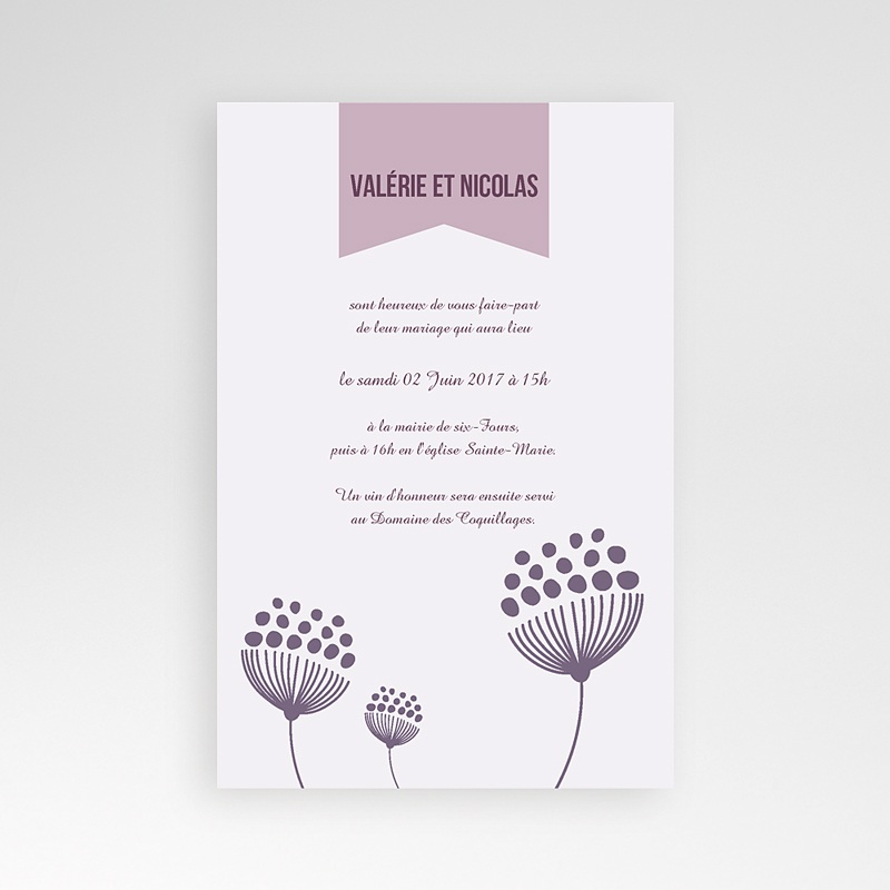 Faire Part Mariage rectangulaire Violettes