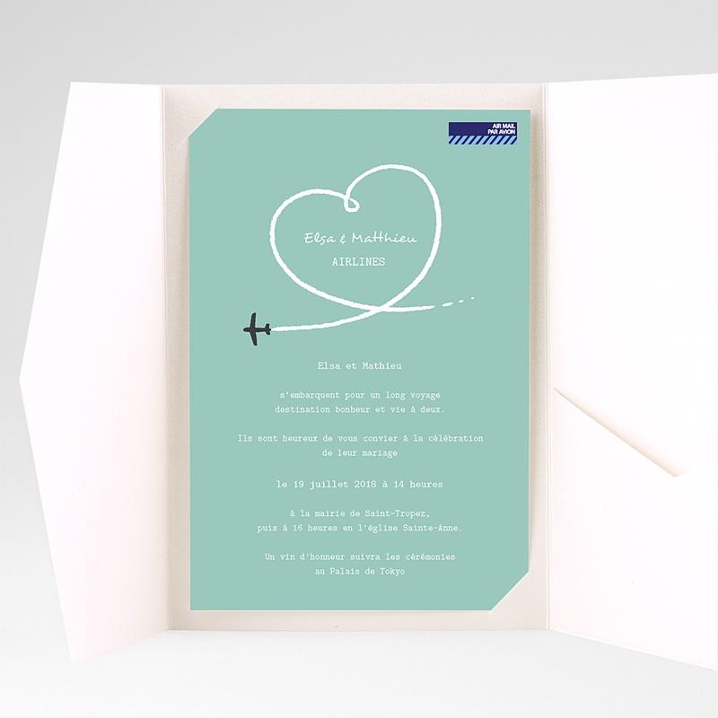 Faire Part Mariage rectangulaire Avion voyage pas cher