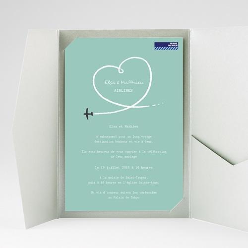 Faire Part Mariage rectangulaire Avion voyage gratuit