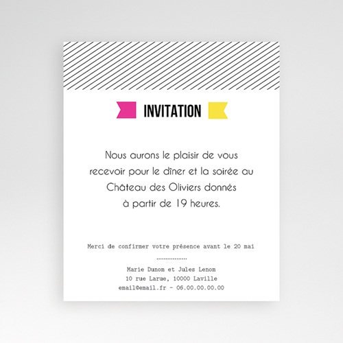 Carte d'invitation Fluo