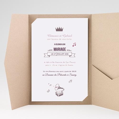Faire Part Mariage Pochette rectangulaire - Douce musique 39085 thumb