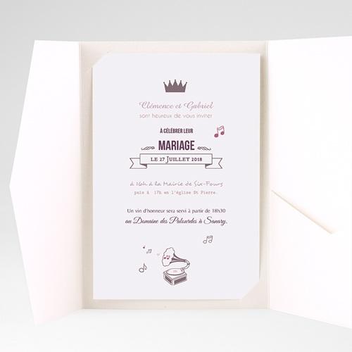 Faire Part Mariage Pochette rectangulaire - Douce musique 39086 thumb