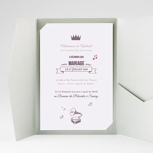 Faire Part Mariage Pochette rectangulaire - Douce musique 39087 thumb