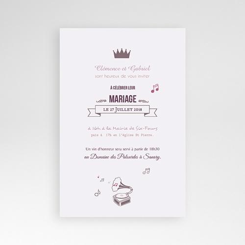 Faire Part Mariage Pochette rectangulaire - Douce musique 39088 thumb