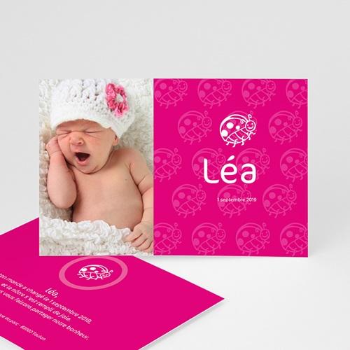 Faire-part naissance fille Coccinelle rose fuchsia