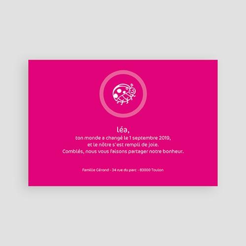 Faire-Part Naissance Fille - Coccinelle rose fuchsia 3919 preview