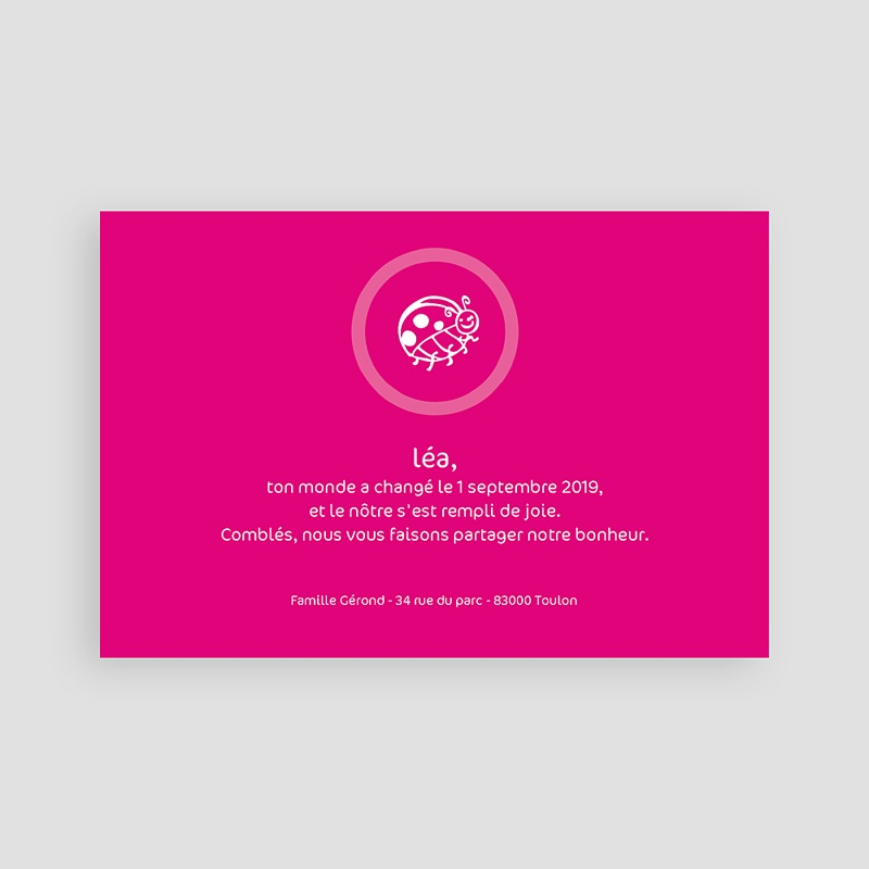 Faire-Part Naissance Fille Coccinelle rose fuchsia pas cher