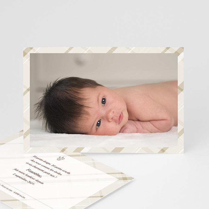 Faire-Part Naissance Fille - Carte photo beige rayée 3922 thumb