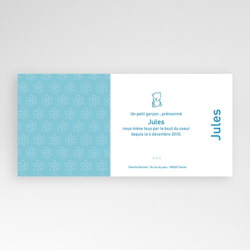 Faire-Part Naissance Garçon - Mon coeur, fleur bleue 3935 thumb