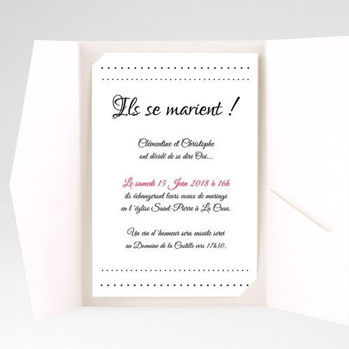 Faire Part Mariage Pochette rectangulaire - Elégance 39410 thumb