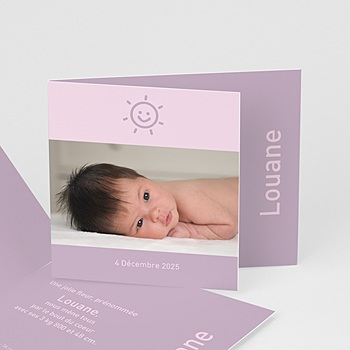 Faire part de naissance fille my happy face - parme violet