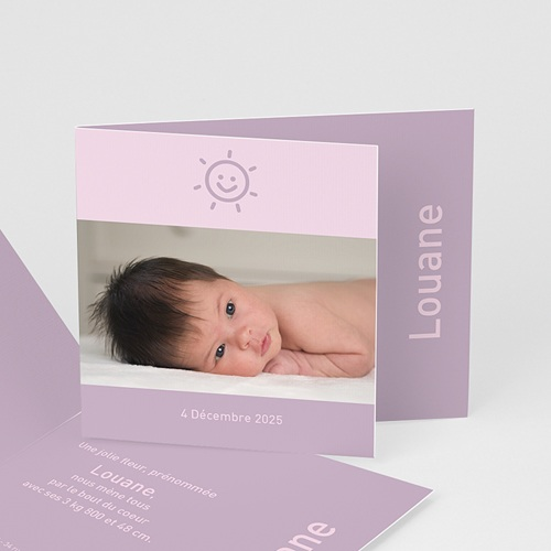 Faire-Part Naissance Fille - My happy face - parme 3946 thumb