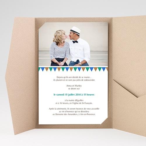 Faire Part Mariage Pochette rectangulaire - Mosaïques Bleues 39505 preview