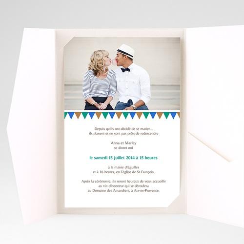 Faire Part Mariage Pochette rectangulaire - Mosaïques Bleues 39506 preview