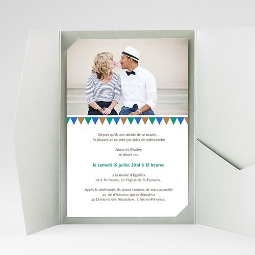 Faire Part Mariage Pochette rectangulaire - Mosaïques Bleues 39507 preview