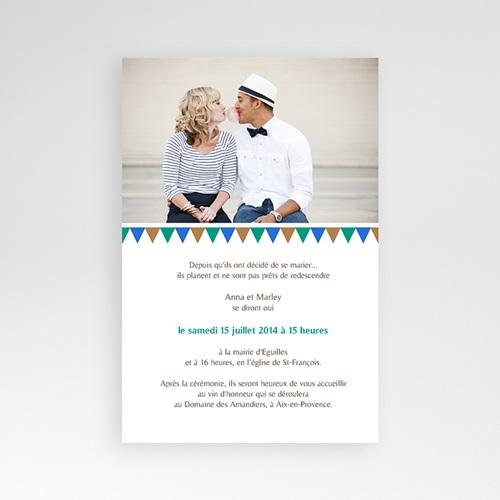 Faire Part Mariage Pochette rectangulaire - Mosaïques Bleues 39508 preview
