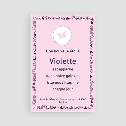 Faire-Part Naissance Fille - Rose bonbon et frise violette 3951 thumb