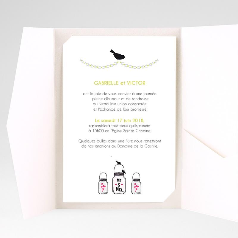 Faire Part Mariage Pochette rectangulaire - Flacons d'amour 39554 thumb