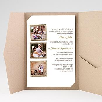 Faire part mariage rectangulaire couleur campagne avec photo
