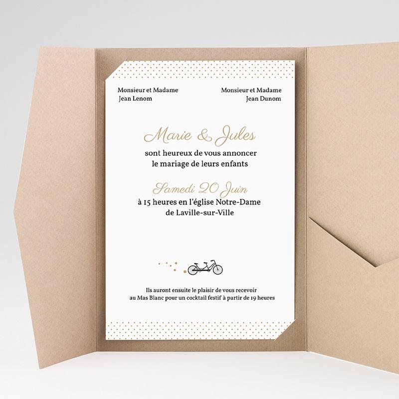 Faire Part Mariage Pochette rectangulaire - Tandem 39589 thumb