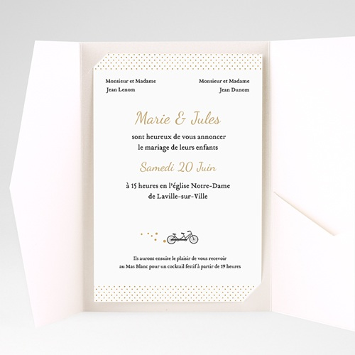 Faire Part Mariage Pochette rectangulaire - Tandem 39590 thumb