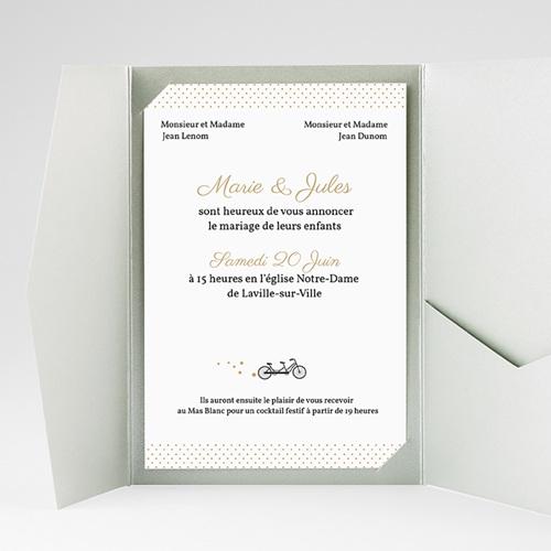 Faire Part Mariage Pochette rectangulaire - Tandem 39591 thumb