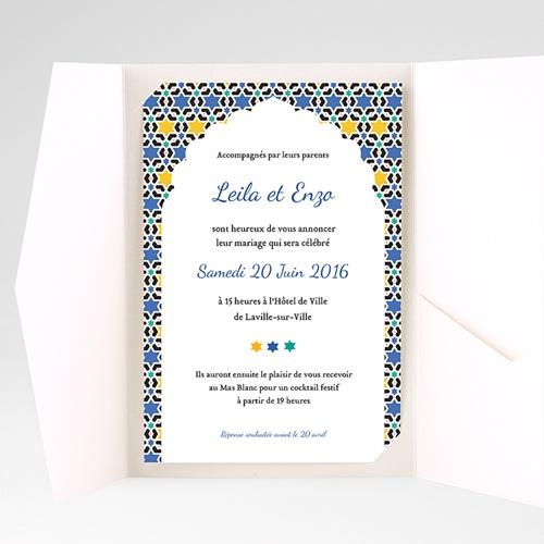 Faire Part Mariage Pochette rectangulaire - Zellige d'orient 39598 thumb