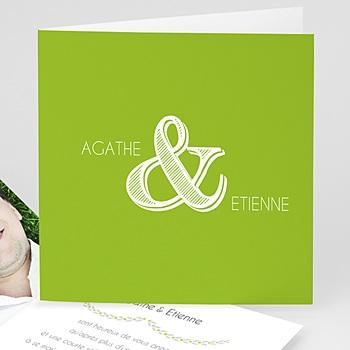 Faire part de mariage vert carte mariage photo - anis avec photo