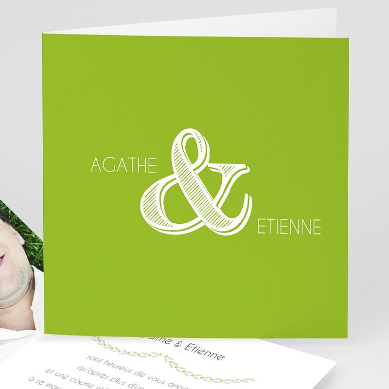Faire-part mariage vert Carte Mariage Photo - Anis