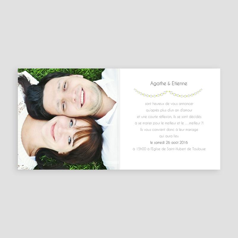 Faire-part mariage vert Carte Mariage Photo - Anis pas cher