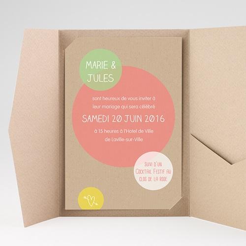 Faire Part Mariage Pochette rectangulaire - Bulles créatives 39709 thumb