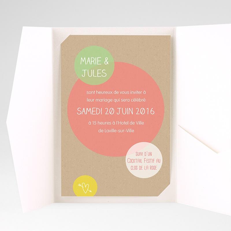 Faire Part Mariage Pochette rectangulaire - Bulles créatives 39710 thumb