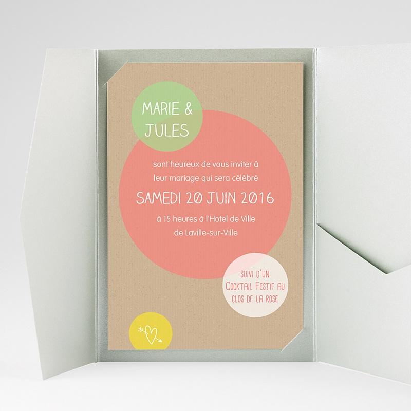 Faire Part Mariage Pochette rectangulaire - Bulles créatives 39711 thumb