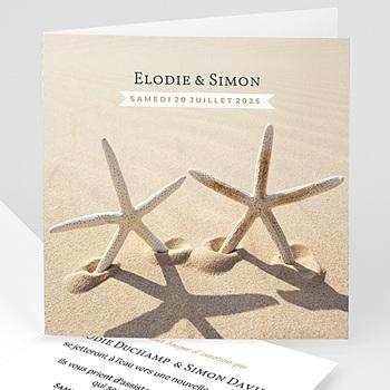 Faire part de mariage mer mer et coeur de sable voyage