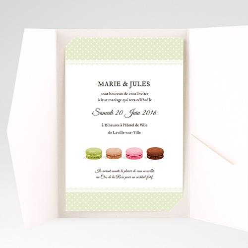 Faire Part Mariage Pochette rectangulaire - Amour de macaron 39766 thumb