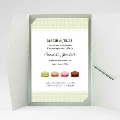 Faire Part Mariage Pochette rectangulaire - Amour de macaron 39767 thumb