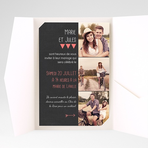Faire Part Mariage Pochette rectangulaire - Photo amoureux 39822 preview