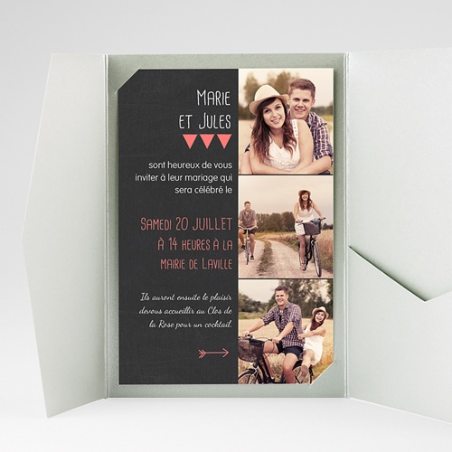 Faire Part Mariage Pochette rectangulaire - Photo amoureux 39823 preview