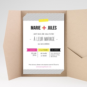 Faire part mariage rectangulaire fluo sans photo