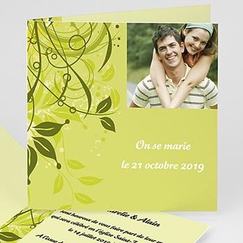 Faire part mariage bucolique vert anis