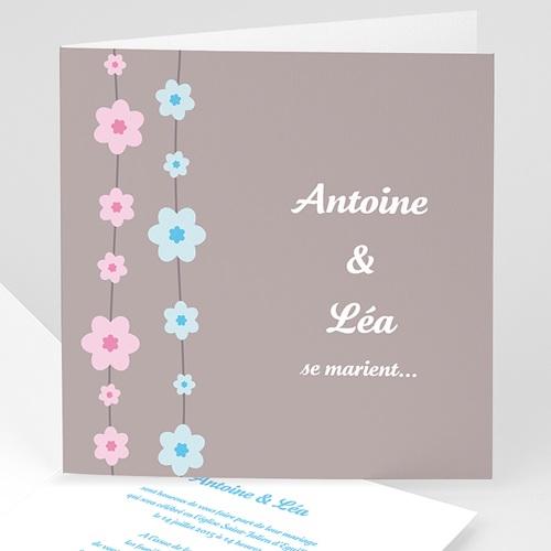 Faire-Part Mariage Personnalisés - Perles de fleurs  3998
