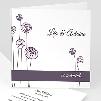 Faire part de mariage violet mariage en blanc et rose sans photo