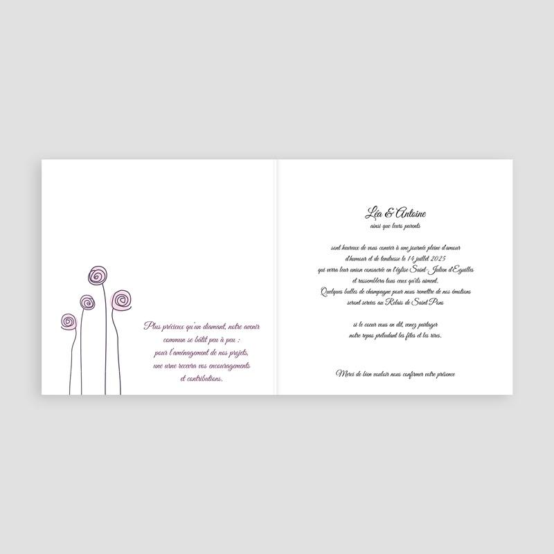 Faire part mariage violet - Mariage en blanc et rose 4003 thumb