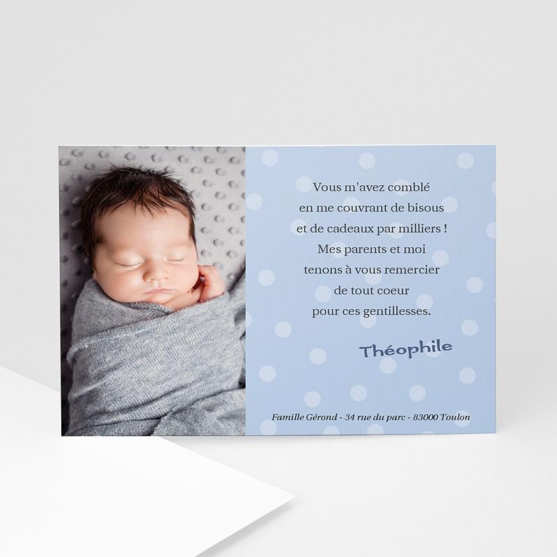 Carte remerciement naissance garçon Bleu à petits pois