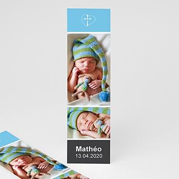 Marque-page dragées de baptême - bleu personnalisable