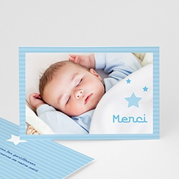 Carte remerciement naissance garçon Plein les Yeux
