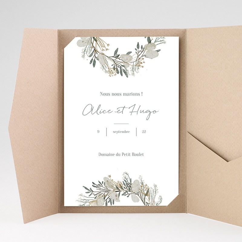 Faire Part Mariage Pochette rectangulaire - Marions-nous ! 40213 thumb